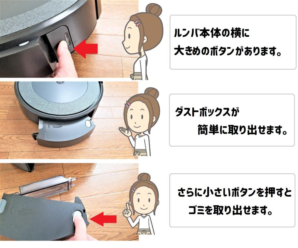 ルンバi3 ごみの取り出し方 ①ルンバ本体の横に大きめのボタンがあります。②ダストボックスが簡単に取り出せます。③さらに小さいボタンを押すとゴミを取り出せます。